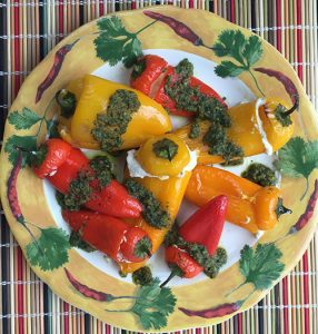 Little Stuffed Peppers with Cilantro-Walnut Pesto