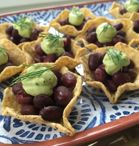 Tiny Tacos with Coco-Lime Black Beans and Avocado Cream