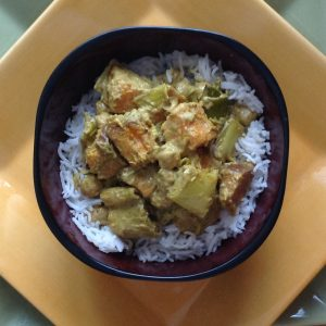 Roasted Sweet Potato, Leek and Chickpea Coconut Curry
